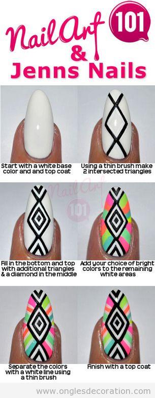 Tuto déco ongles motif tribal, couleurs arc-en-ciel neon