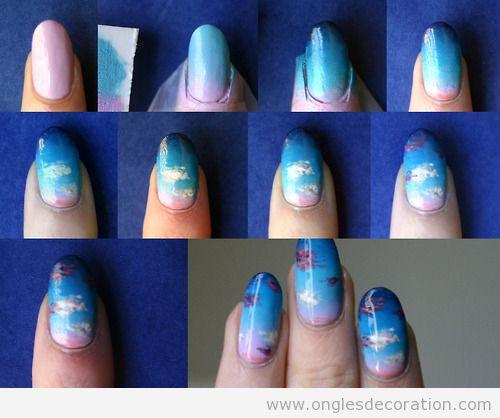 Tuto dessin ongles, nuages couché de soleil