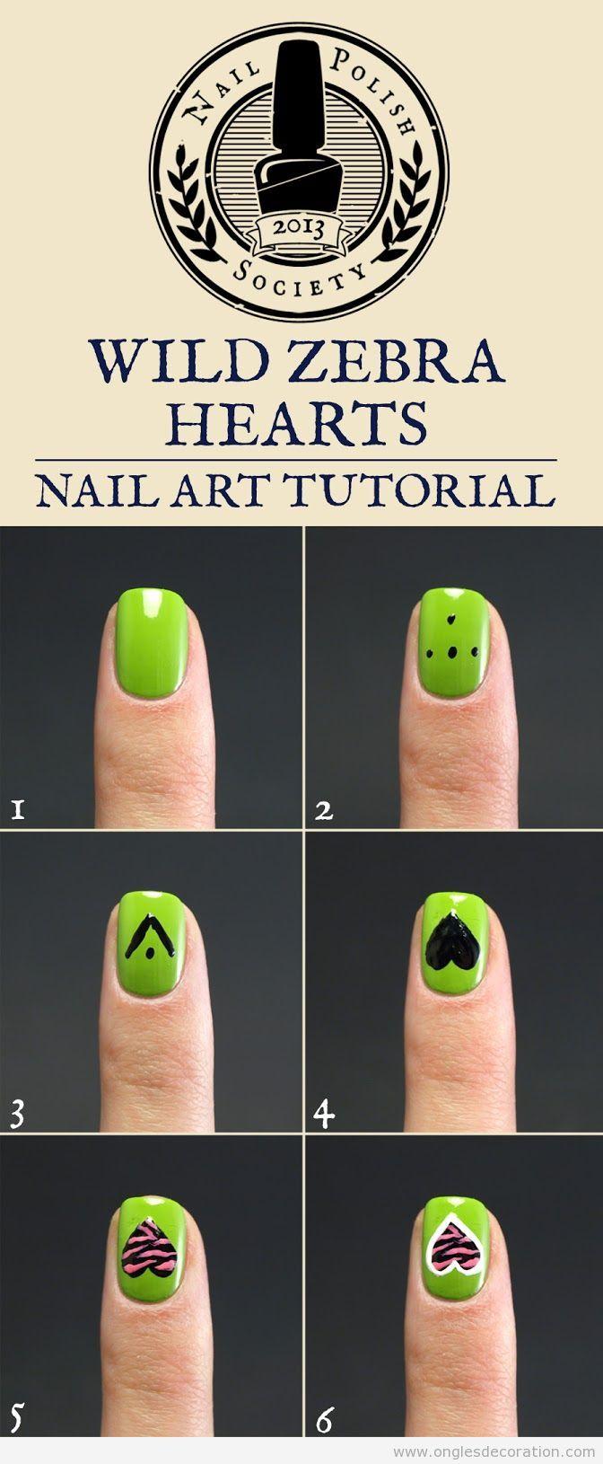 Tuto comment dessiner un coeur motif zèbre sur les ongles