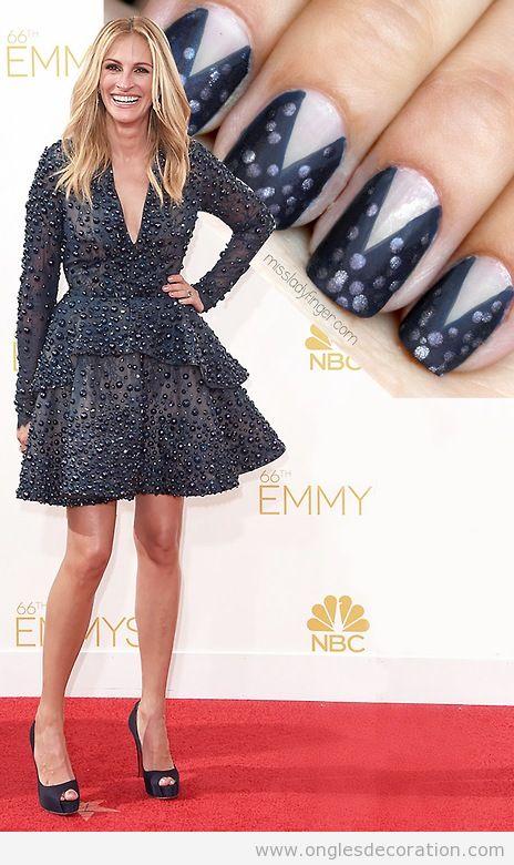 Déco ongles inspiré veste Julia Roberts Emmy's 14
