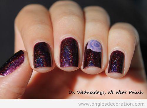 Dessin ongles en violette