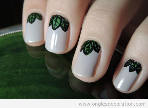Nail Art dessin ongles feuilles vertes 2