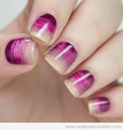Déco ongles élégante, dégradé effet aquarelle