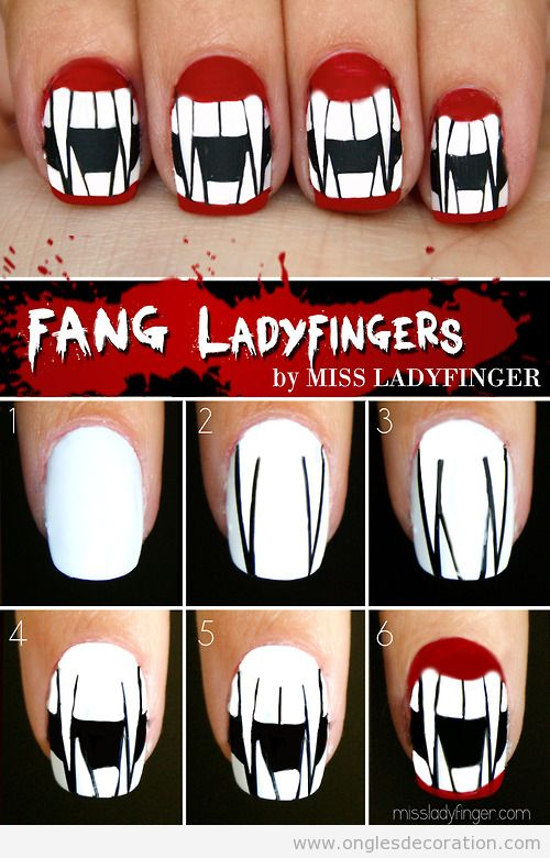 Tuto dessin ongles Halloween, dents de vampire