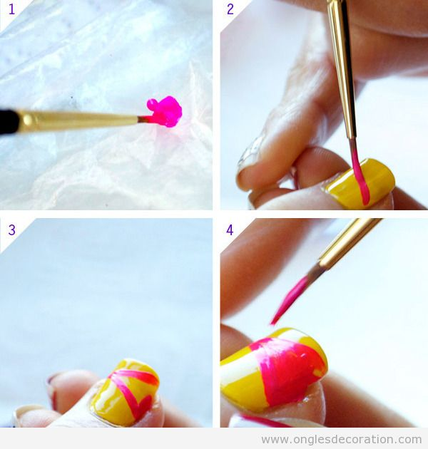 Tuto déco ongles simple color block 1