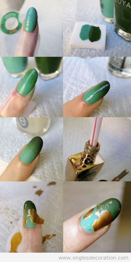Tutoriel décoration ongles dégradé en vert  et eclaboussures en doré