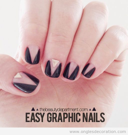 Tuto dessin ongles motif triangles simple