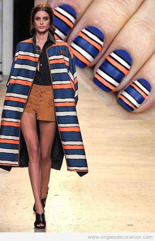 Dessin sur ongles à rayures inspiré d'un dessin de Paul & joe 15