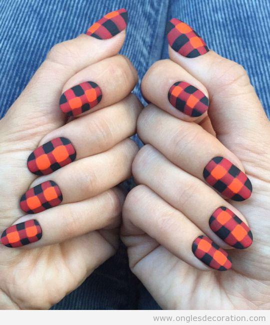 3 Dessin ongles motif à carreaux, mode automne 2015