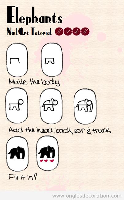 Comment dessiner un éléphant  sur les ongles