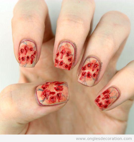 Dessin ongles morsure de zombie
