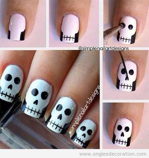 Dessin ongles Halloween et Toussaints. tête de mort sur les ongles