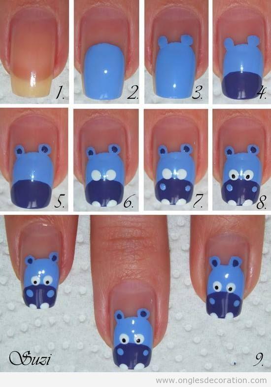 Tuto déco ongles, comment dessiner un hippopotame