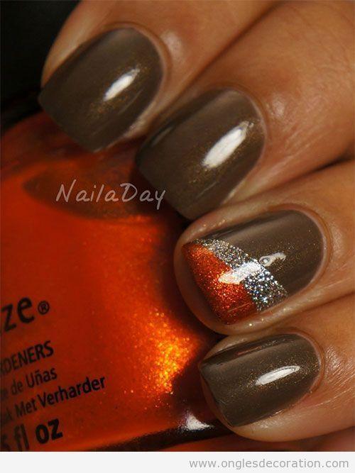 Déco sur ongles simple avec paillettes pour l'automne 4