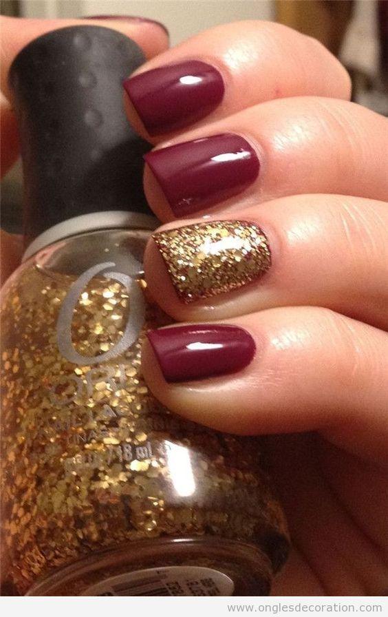 Déco sur ongles simple avec paillettes pour l'automne 2
