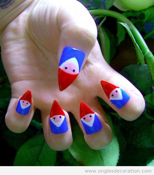 Dessin sur ongles d'un gnome
