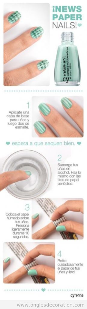 Tuto déco sur ongles simple, dessin de journal