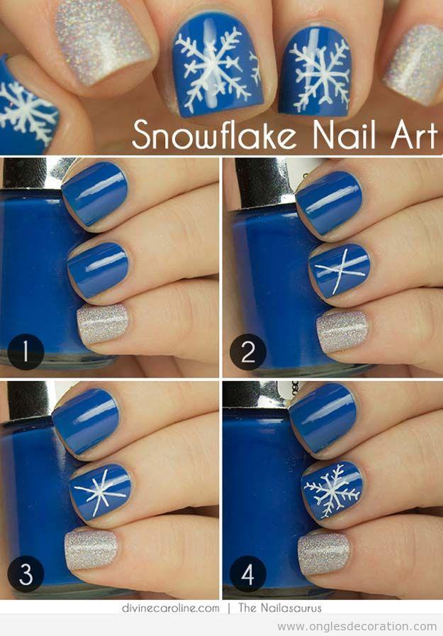 Déco sur ongles Noë flocon de neige