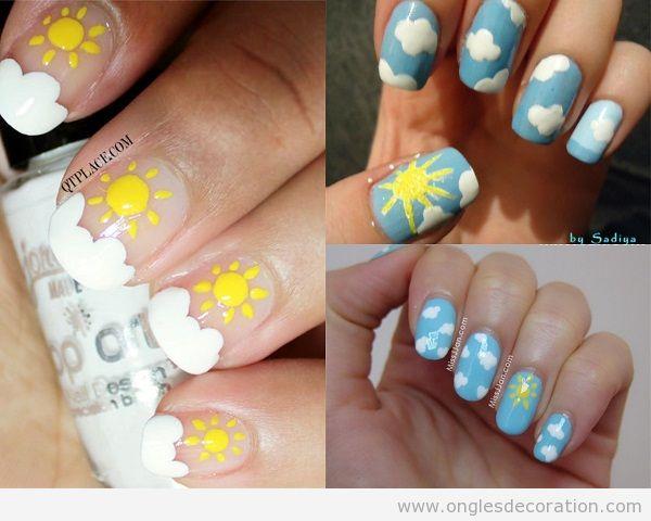 Décoration ongles , dessin nuages et soleil