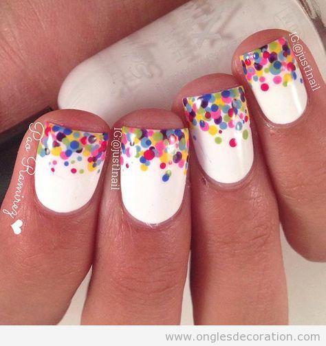 Déco ongles anniversaire confetti