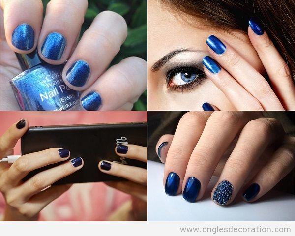 Déco ongles automne 2017 bleu metallique