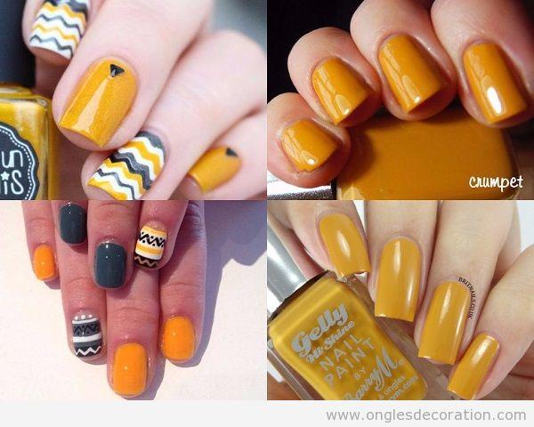 Déco ongles jaune automne