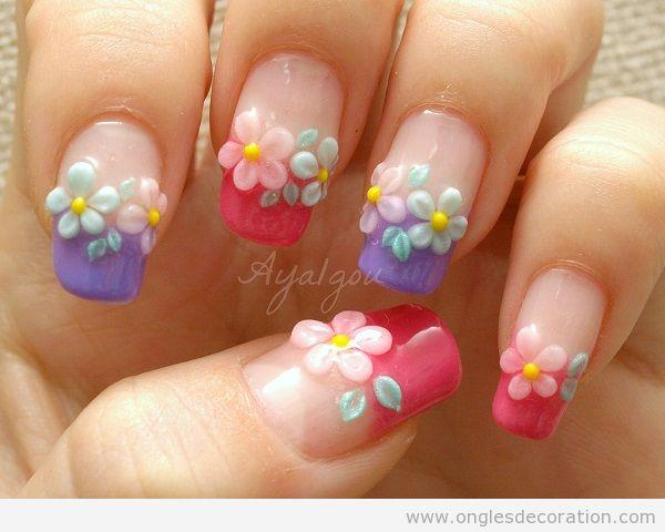 Déco ongles fleurs résine 3D 15