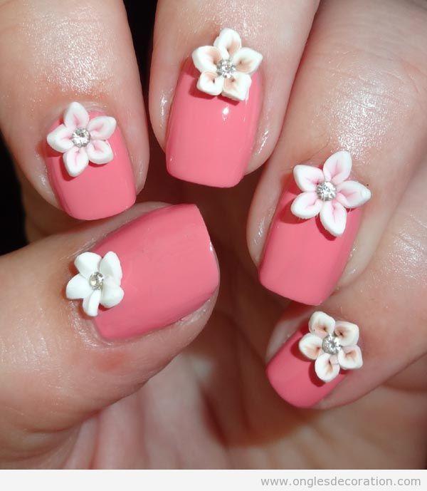 Déco ongles fleurs résine 3D 5