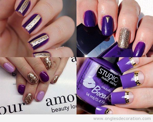 Ongles Ultra Violet, couleur Pantone année 2018 et doré