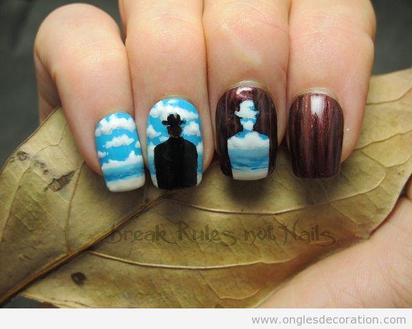 Déco ongles surréalistes Magritte
