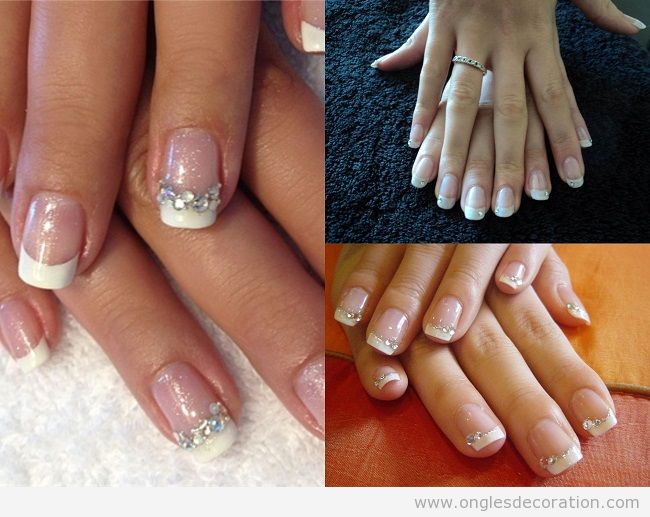 Déco ongles en gel french manucure strass