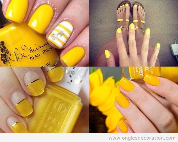 Déco ongles jaune été