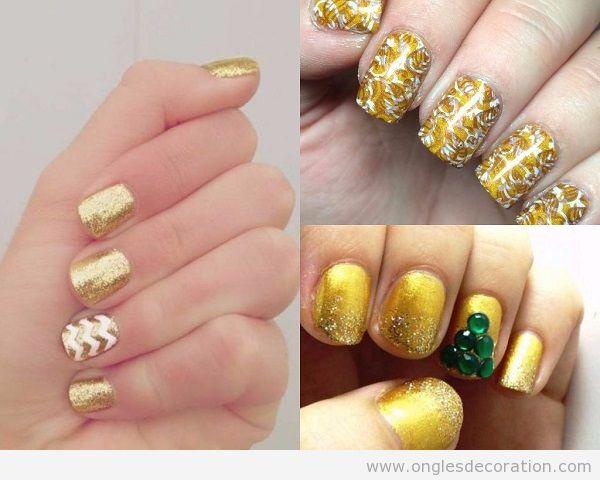 Déco ongles jaune hiver ou Noël