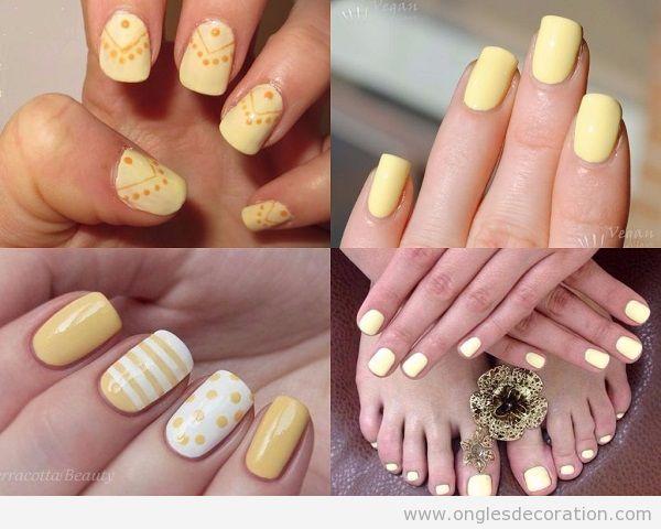 Déco ongles jaune printemps