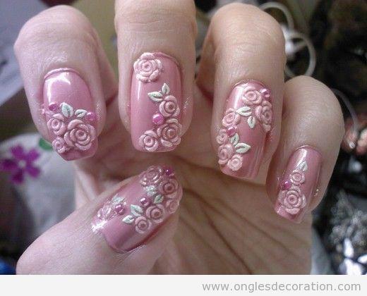 Déco ongles fleurs résine 3D 6