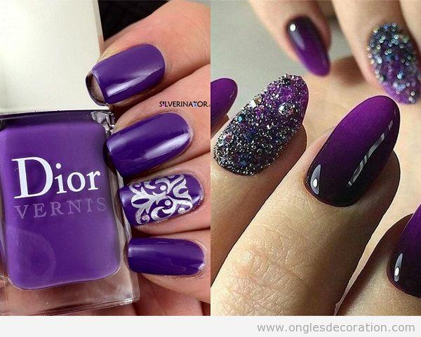 Ongles Ultra Violet, couleur Pantone année 2018 et argent