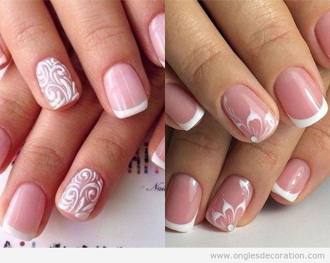 Déco ongles en gel french manucure fleurs